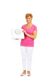 Smiling old woman holding weight scale Royalty Free Stock Image