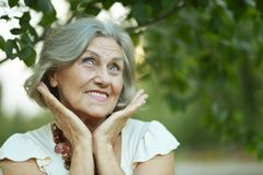 Smiling old woman Stock Images