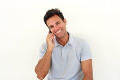 Smiling older man talking on cell phone Royalty Free Stock Image