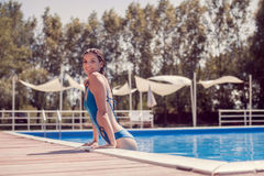 Smiling one young adult woman Caucasian, model, one piece swimsu Stock Photos