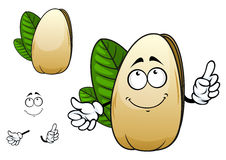 Smiling open pistachio nut cartoon character Royalty Free Stock Photography