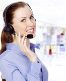 Smiling operator Stock Photo