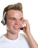 Smiling operator with blond hair Royalty Free Stock Photos