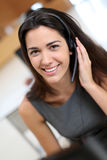 Smiling operator in callcenter Royalty Free Stock Images