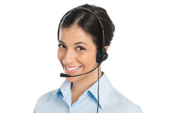 Smiling Operator Wearing Headset Stock Images
