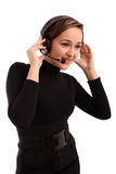 Smiling operator woman in a call center Royalty Free Stock Images