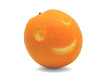 Smiling orange fruit Stock Photography