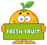 Smiling Orange Fruit Cartoon Mascot Character Holding A Banner With Text Fresh Fruit Stock Photography