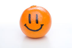 Smiling orange mandarin or tangerine fruit Stock Images