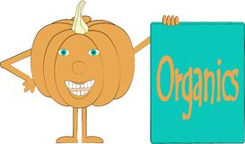 Smiling orange pumpkin with arms and legs, blue eyes, banner whith inscription Royalty Free Stock Photography