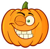 Smiling Orange Pumpkin Vegetables Cartoon Emoji Face Character With Winking Expression Stock Images