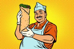 Smiling Oriental street food chef. Kebab Shawarma Doner vector illustration
