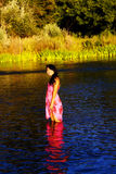 Smiling Oriental Young Woman River Dress Outdoors Royalty Free Stock Photography