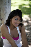 Smiling outdoor portrait young hispanic teen girl Stock Photo