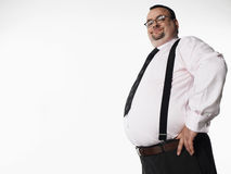 Smiling Overweight Businessman With Hand On Hip Stock Photos