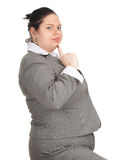 Smiling overweight, fat businesswoman royalty free stock image