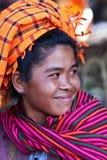 Smiling Pa-O tribe woman, Myanmar Stock Photo