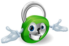 Smiling padlock character Stock Photos