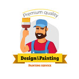 Smiling painter is holding brush. Painting service -  logo badge concept Royalty Free Stock Photo