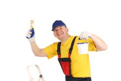 Smiling painter with tools. Royalty Free Stock Photo