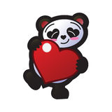 Smiling panda holding a heart standing on one foot. An illustration of a smiling cute panda cartoon with eyes and nose shaped as hearts, holding a bright royalty free illustration