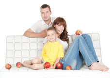 Smiling parents with little son over white Royalty Free Stock Photo