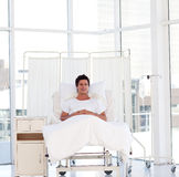 Smiling patient recovering in a hospital Royalty Free Stock Image
