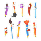 Smiling Pen, Pencils And Brushes, Series Of Animated Stationary Cartoon Characters Isolated Colorful Stickers Royalty Free Stock Images
