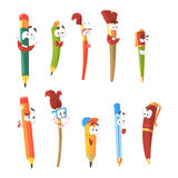 Smiling Pen, Pencils And Brushes, Set Of Animated Stationary Cartoon Characters Isolated Colorful Stickers Royalty Free Stock Image