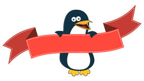 Smiling penguin cartoon with blank banner for text. Royalty Free Stock Image