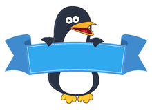Smiling penguin cartoon with blank banner for text. Stock Images