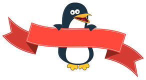 Smiling penguin cartoon with blank banner for text. Royalty Free Stock Photography