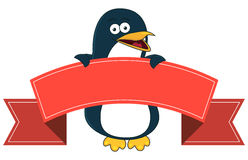 Smiling penguin cartoon with blank banner for text. Stock Image
