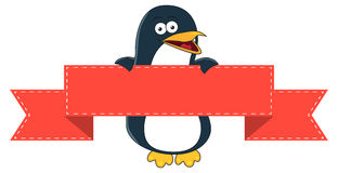 Smiling penguin cartoon with blank banner for text. Royalty Free Stock Images
