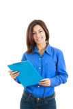 Smiling pensive college girl or woman with  textbook Stock Photography