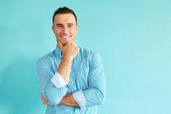 Smiling pensive man Royalty Free Stock Image