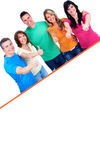 Smiling people with broadsheet. Smiling people group with big poster over white background Royalty Free Stock Image