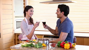 Smiling people celebrating while clinking their glasses. In the kitchen stock footage