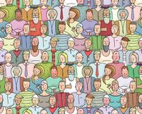 Smiling People Crowd Collective Portrait Seamless Stock Images