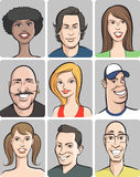 Smiling people faces collection Royalty Free Stock Photography