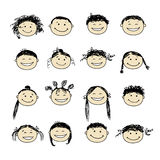 Smiling people icons for your design Stock Photography