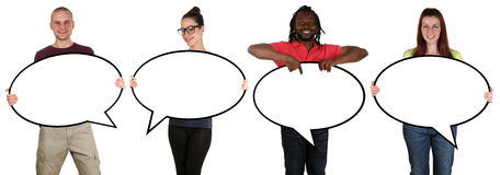 Smiling people man woman with speech bubbles and copyspace Stock Photos