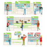 Smiling People In Pharmacy Choosing And Buying Drugs And Cosmetics Collection Of Drugstore Scenes With Pharmacists And. Clients. Vector Cartoon Illustrations Stock Photos