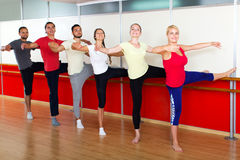 Smiling people rehearsing ballet dance Royalty Free Stock Photos