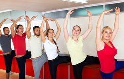 Smiling people rehearsing ballet dance Royalty Free Stock Photography
