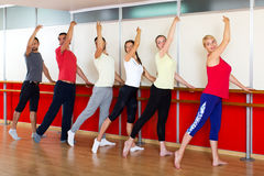 Smiling people rehearsing ballet dance Royalty Free Stock Photo