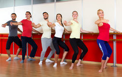 Smiling people rehearsing ballet dance Stock Photography