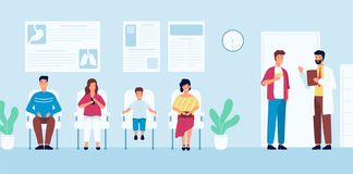 Smiling people sitting in chairs and waiting for doctor`s appointment time at hospital. Men and women at physician`s. Office or clinic. Colorful vector stock illustration