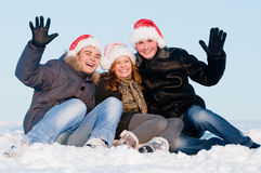 Smiling people in winter Stock Photo
