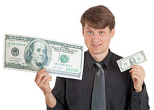 Smiling person offers a choice. Lot or few money. Royalty Free Stock Photo
